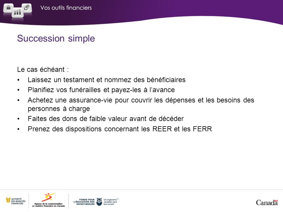 Succession simple Le cas échéant :