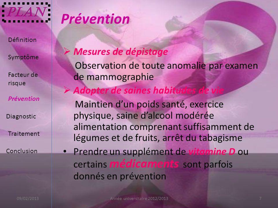Prévention Plan Mesures de dépistage