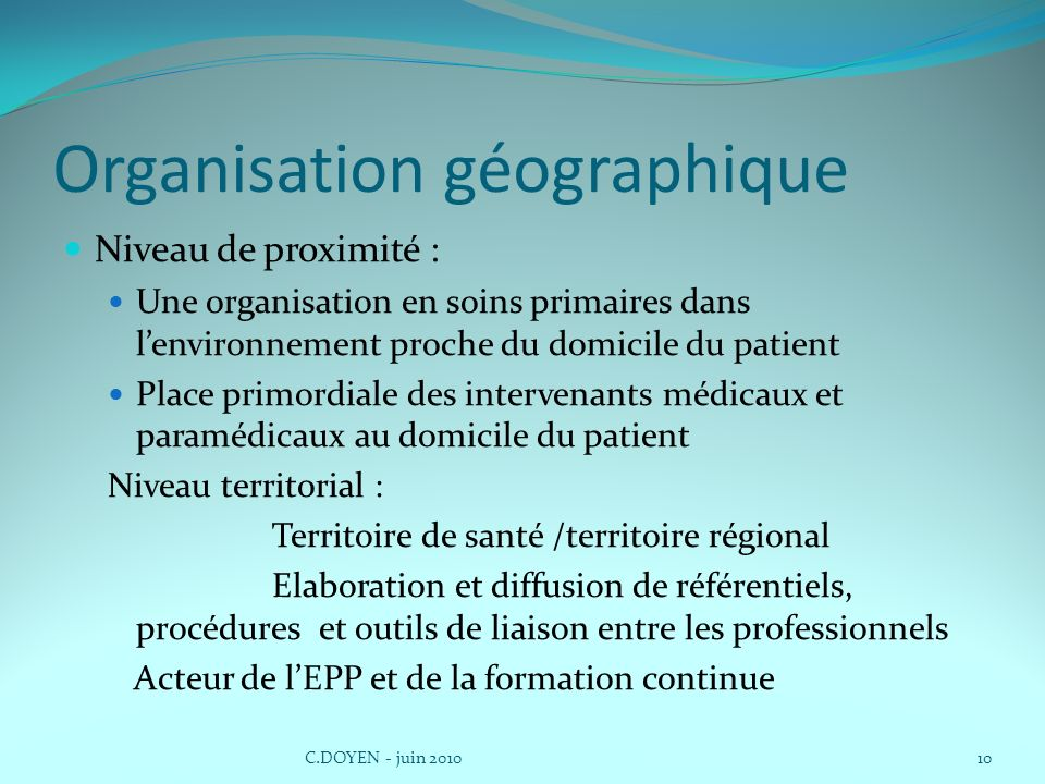 Organisation géographique