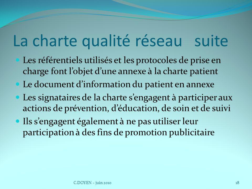 La charte qualité réseau suite