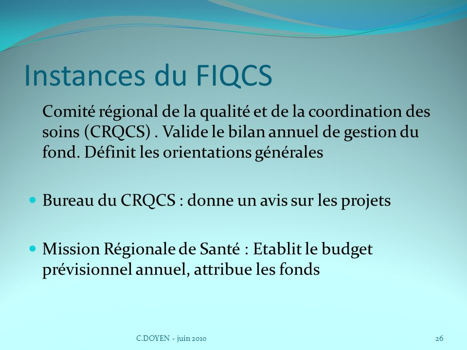 Instances du FIQCS