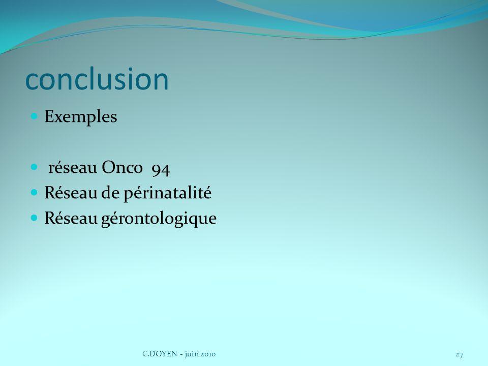 conclusion Exemples réseau Onco 94 Réseau de périnatalité