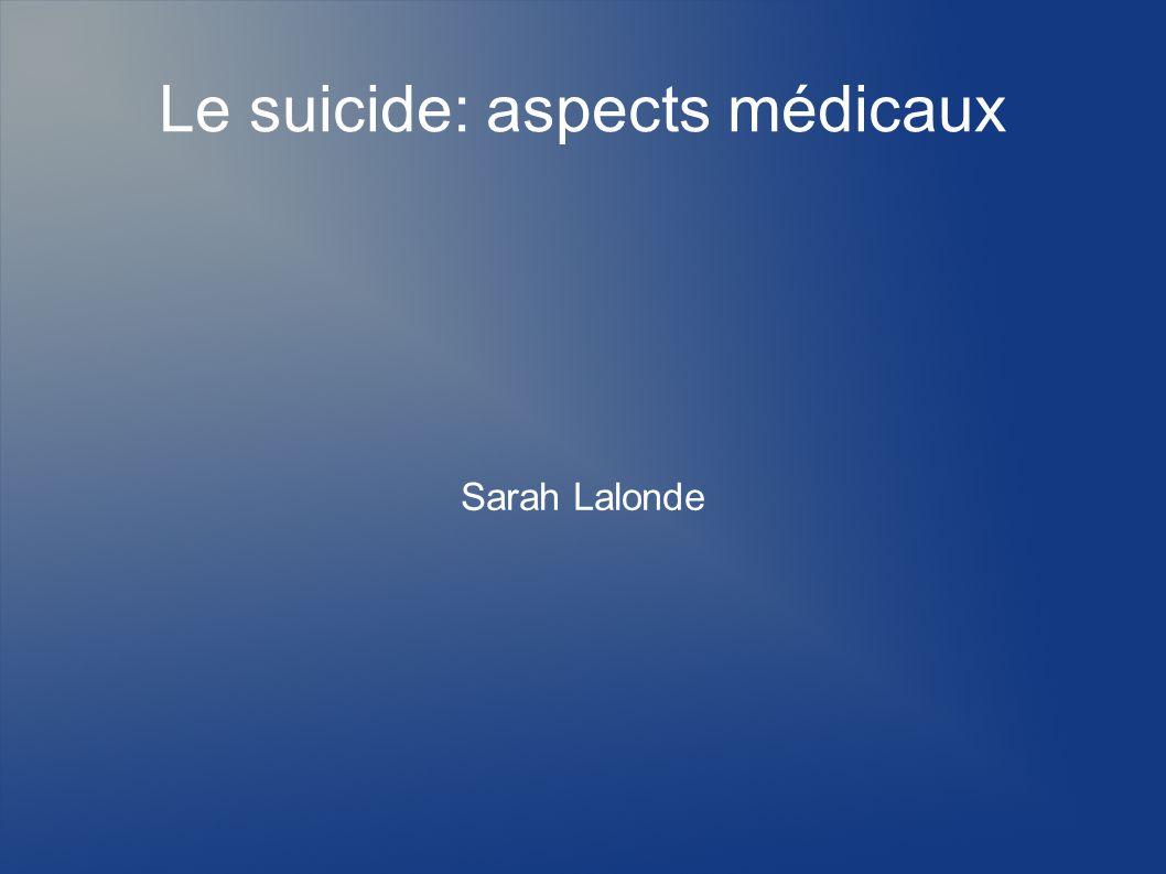 Le suicide: aspects médicaux