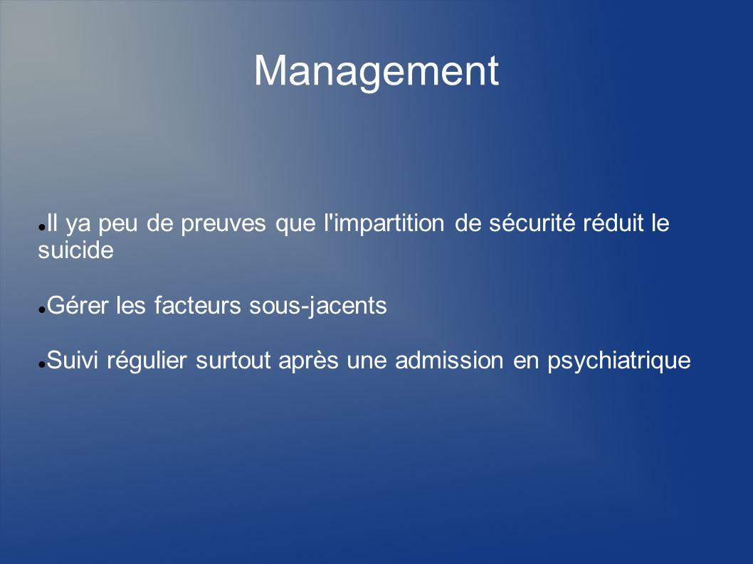 Management Il ya peu de preuves que l impartition de sécurité réduit le suicide. Gérer les facteurs sous-jacents.