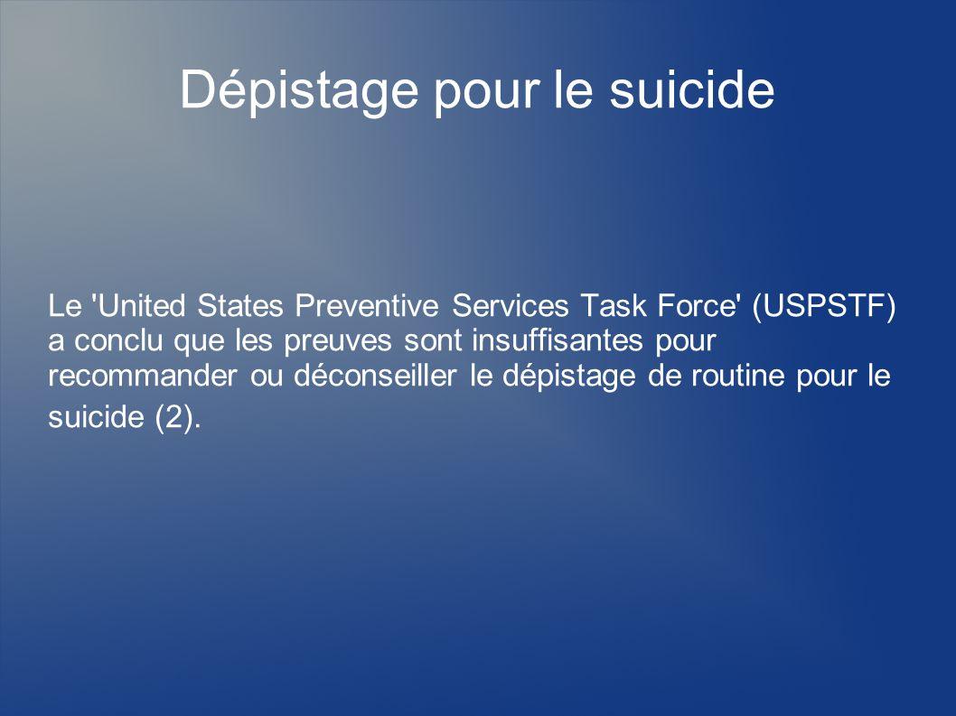 Dépistage pour le suicide