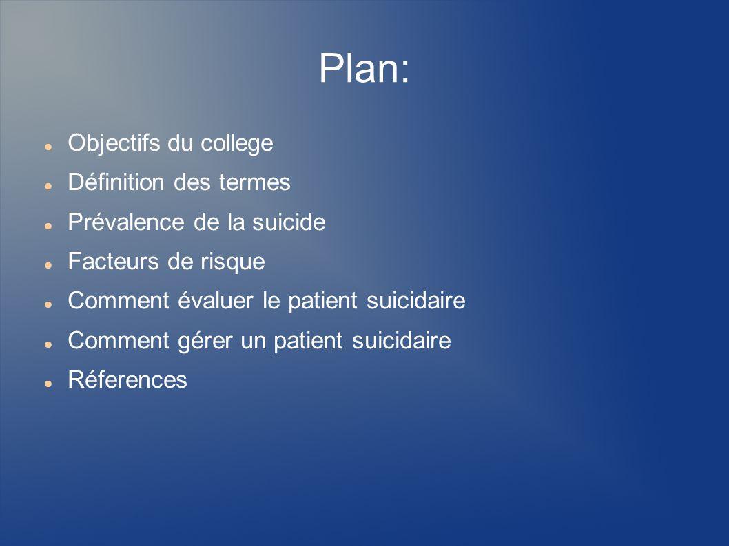 Plan: Objectifs du college Définition des termes