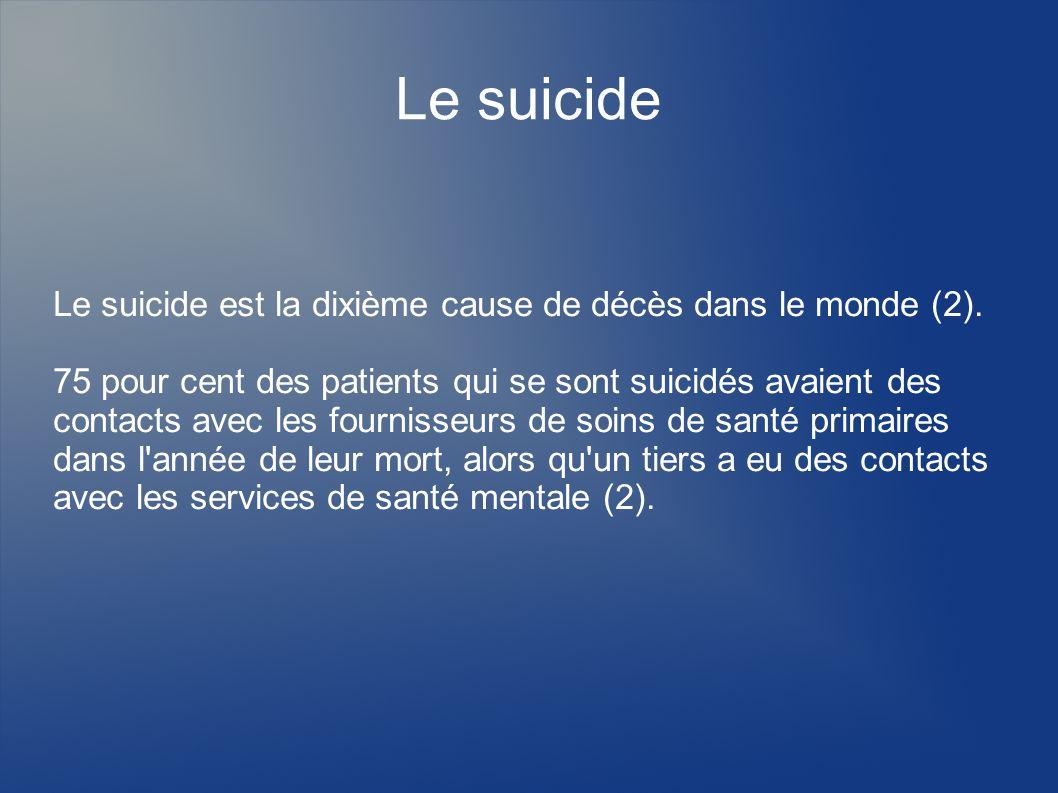 Le suicide Le suicide est la dixième cause de décès dans le monde (2).