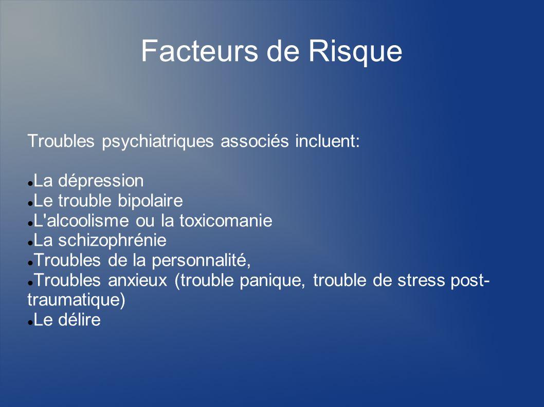 Facteurs de Risque Troubles psychiatriques associés incluent: