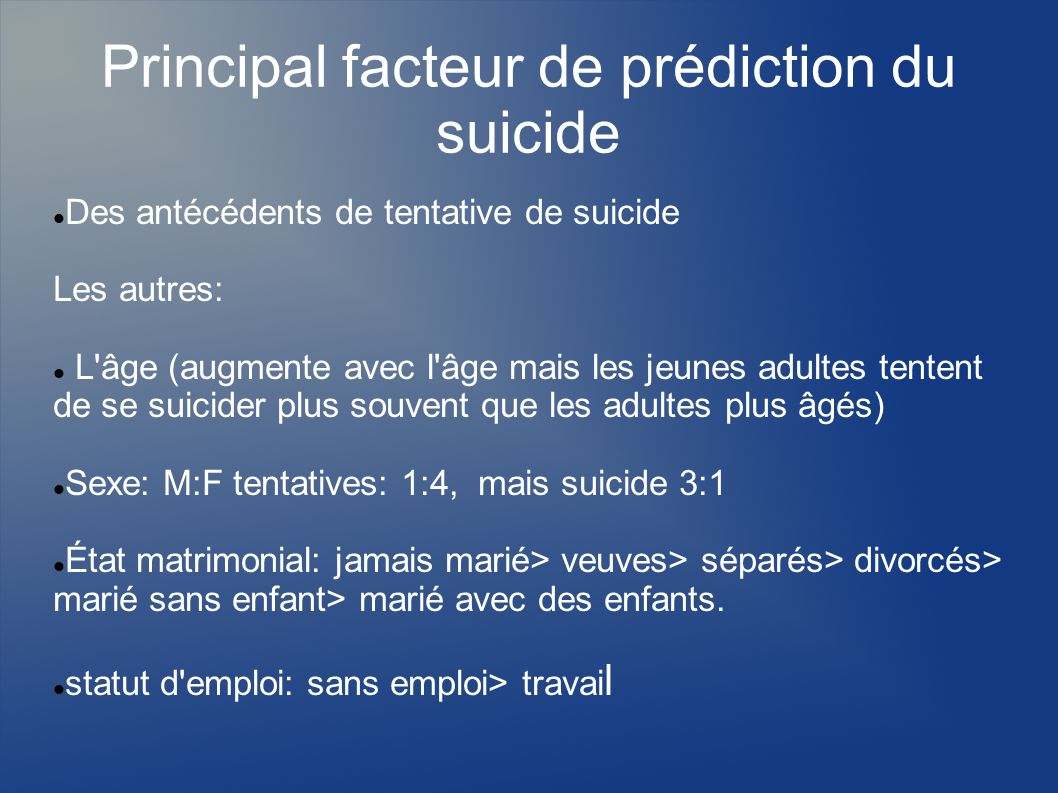 Principal facteur de prédiction du suicide