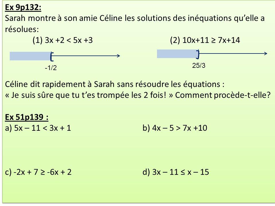 Ex 9p132: Sarah montre à son amie Céline les solutions des inéquations qu'elle a résolues: