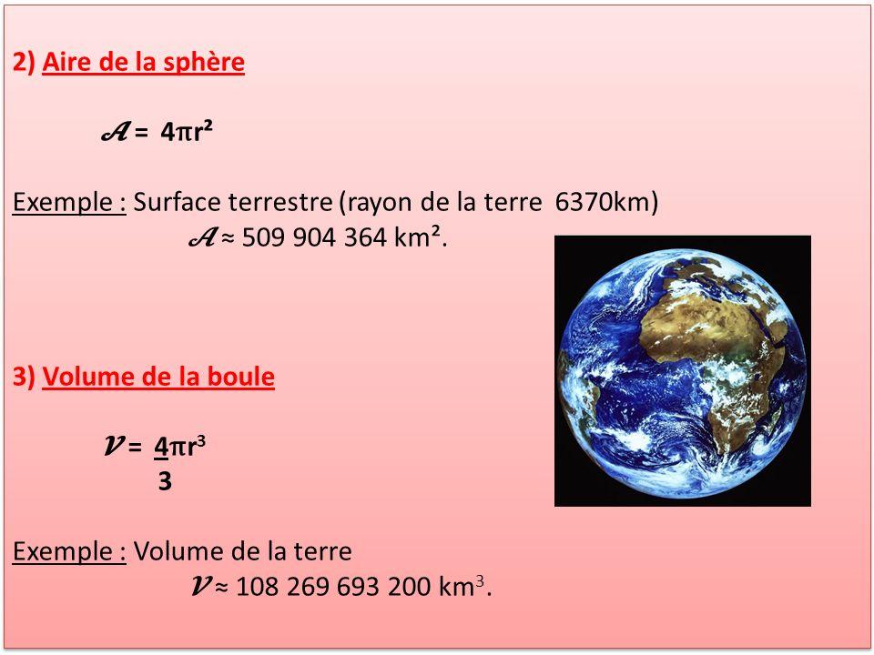 2) Aire de la sphère 𝓐 = 4πr². Exemple : Surface terrestre (rayon de la terre 6370km) 𝓐 ≈ 509 904 364 km².