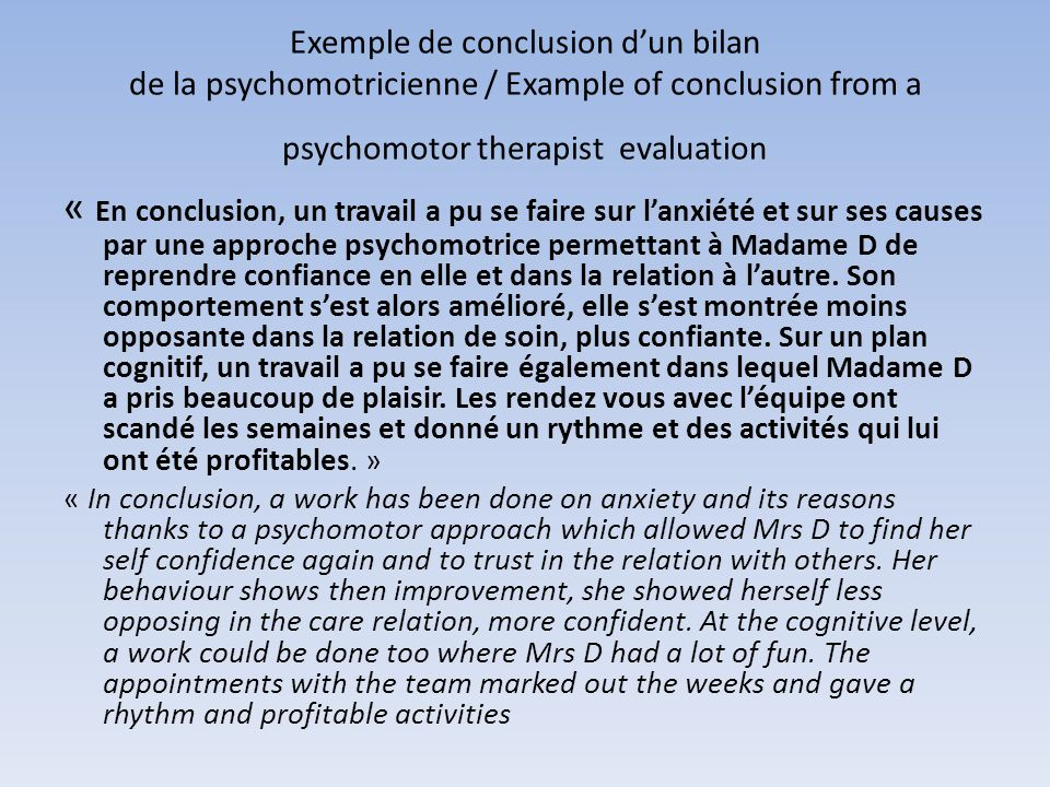 Exemple de conclusion d'un bilan de la psychomotricienne / Example of conclusion from a psychomotor therapist evaluation