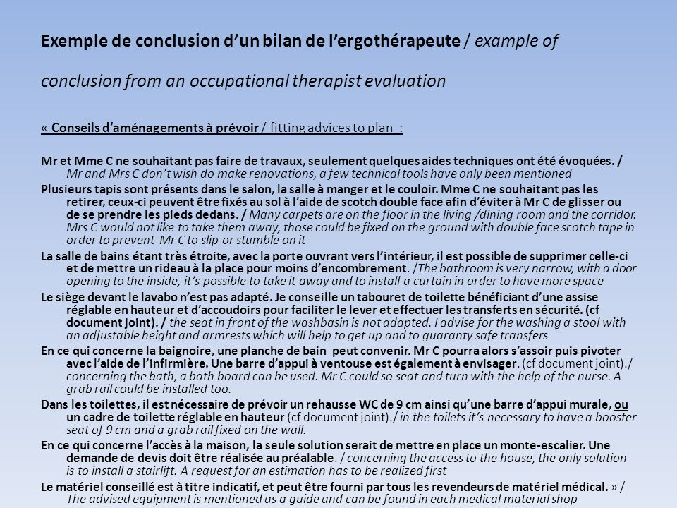 Exemple de conclusion d'un bilan de l'ergothérapeute / example of conclusion from an occupational therapist evaluation