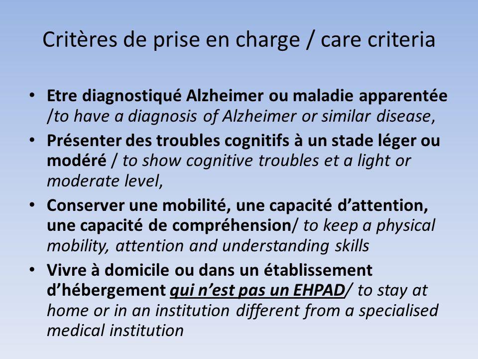 Critères de prise en charge / care criteria