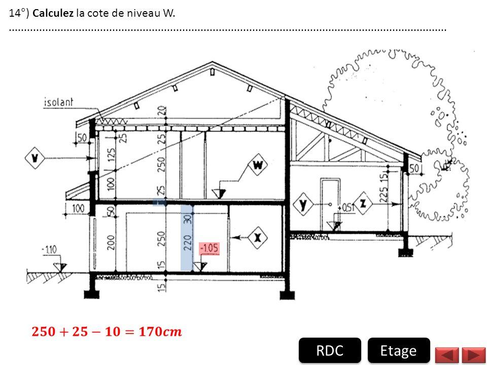 RDC Etage 14°) Calculez la cote de niveau W.