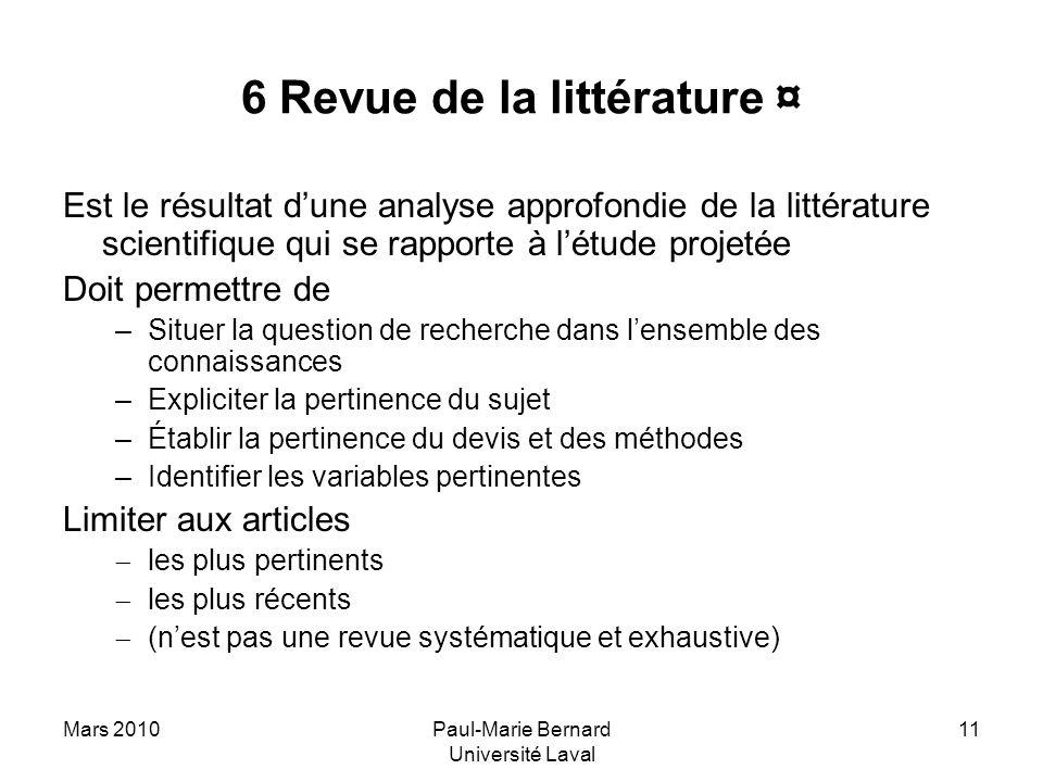 6 Revue de la littérature ¤