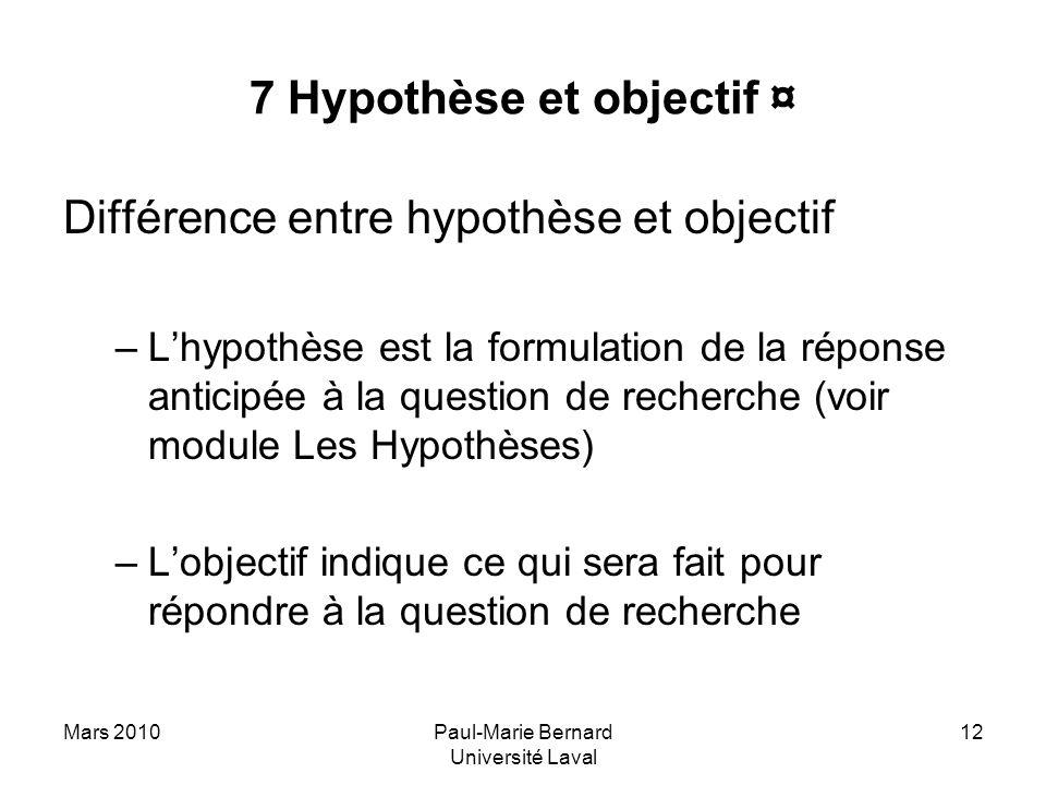 7 Hypothèse et objectif ¤