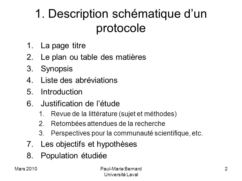 1. Description schématique d'un protocole