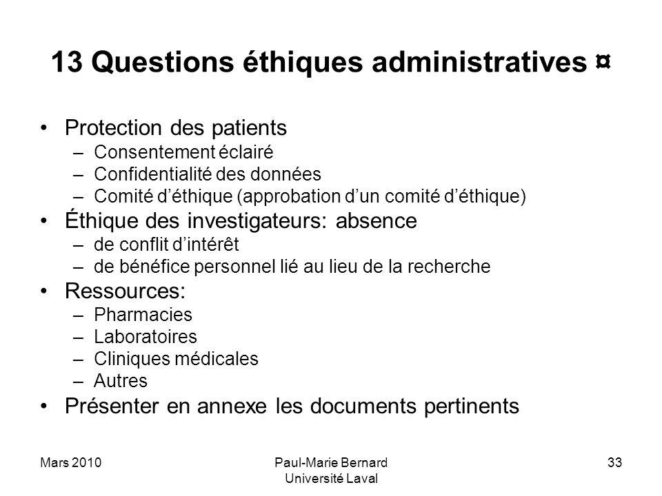 13 Questions éthiques administratives ¤