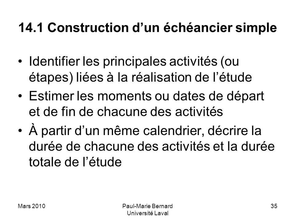 14.1 Construction d'un échéancier simple