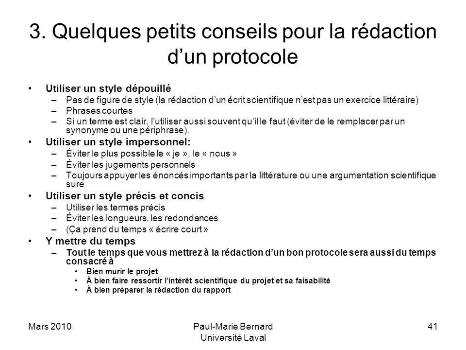 3. Quelques petits conseils pour la rédaction d'un protocole