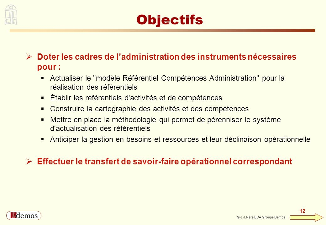 Objectifs Doter les cadres de l'administration des instruments nécessaires pour :
