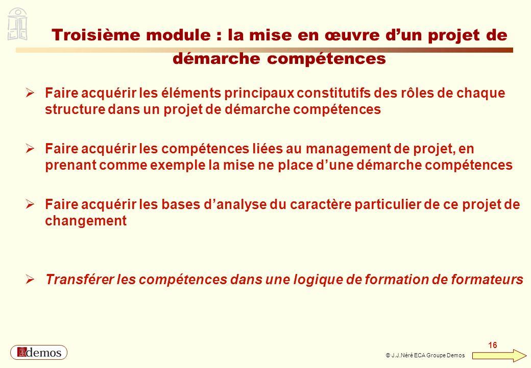 Troisième module : la mise en œuvre d'un projet de démarche compétences