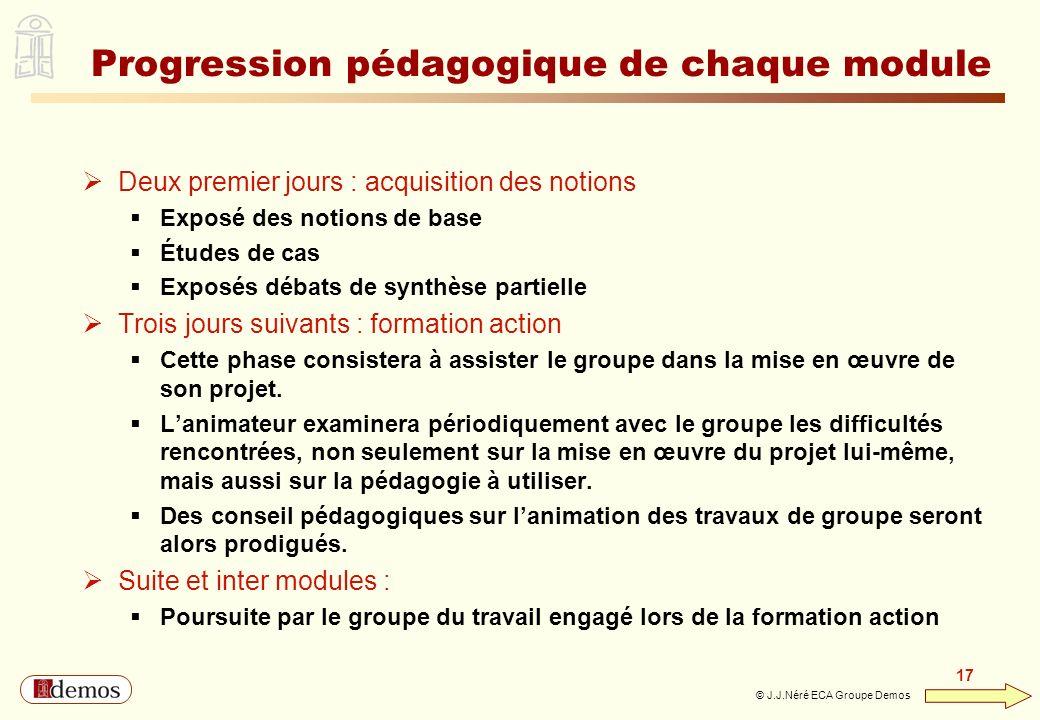 Progression pédagogique de chaque module