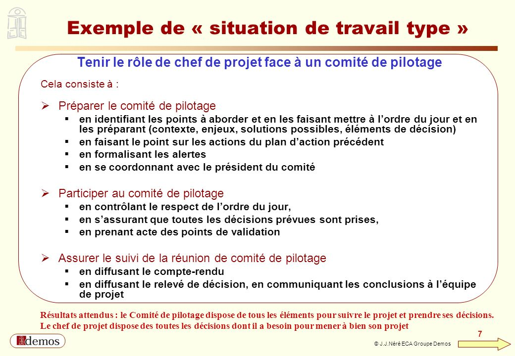 Exemple de « situation de travail type »