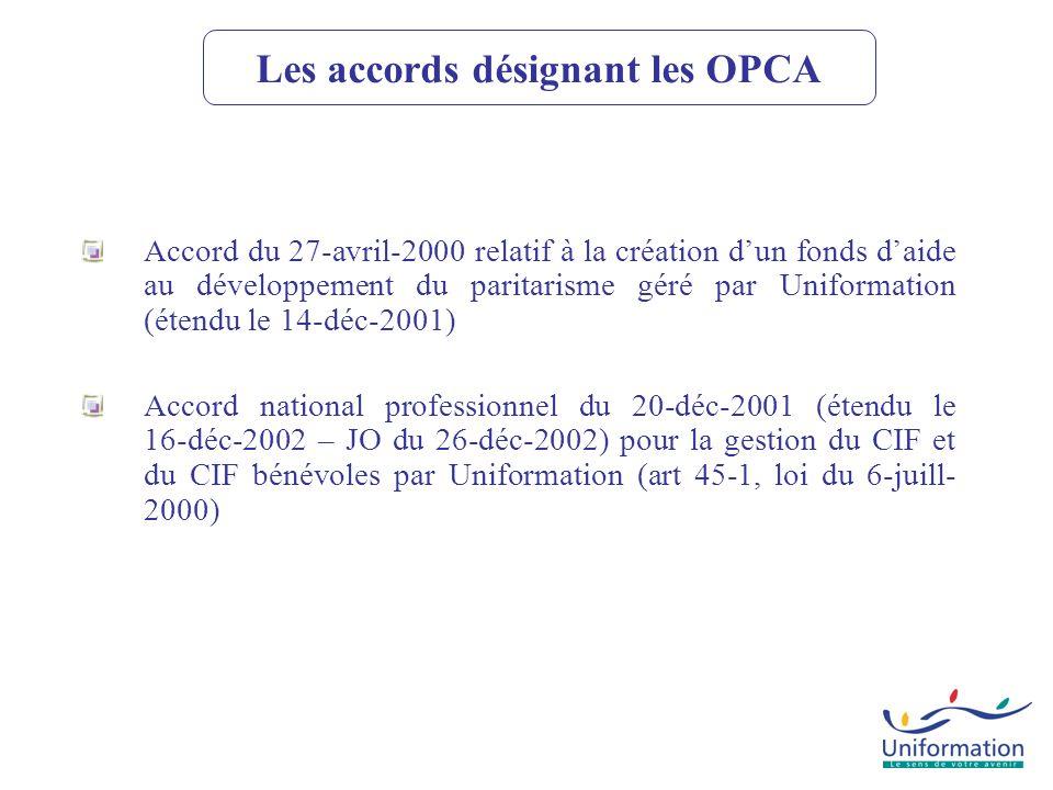 Les accords désignant les OPCA