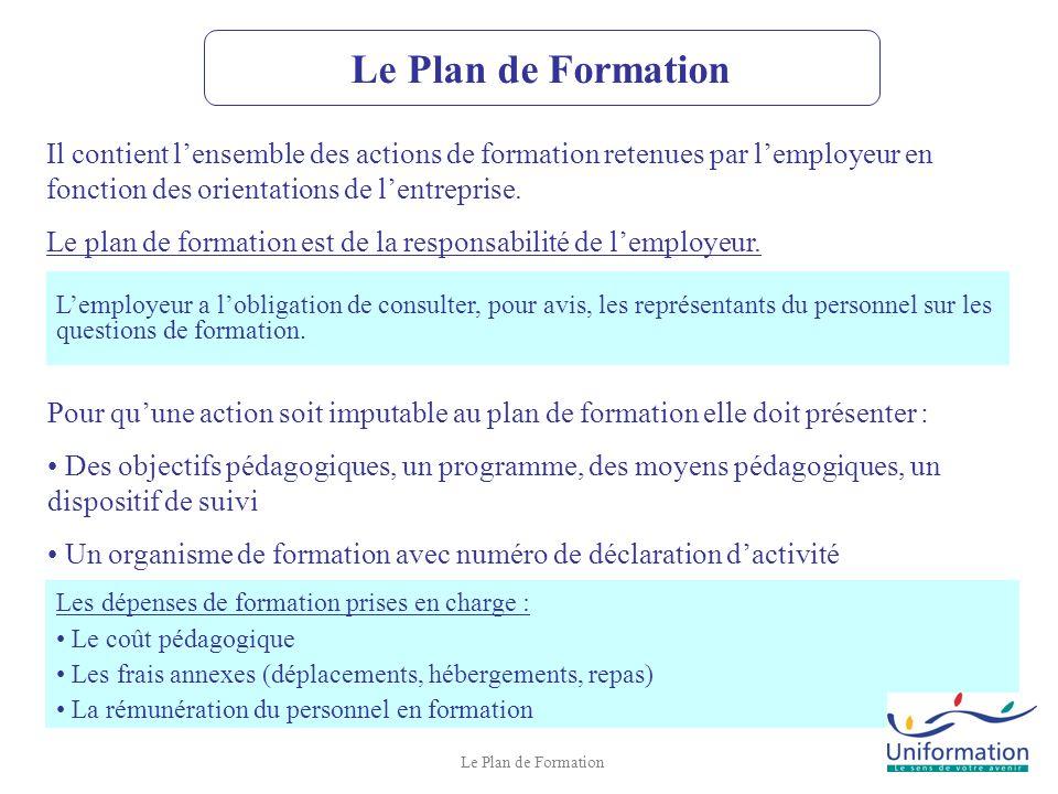 Le Plan de Formation Il contient l'ensemble des actions de formation retenues par l'employeur en fonction des orientations de l'entreprise.