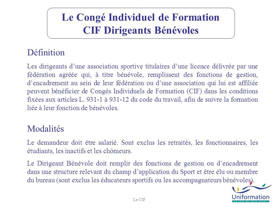 Le Congé Individuel de Formation CIF Dirigeants Bénévoles