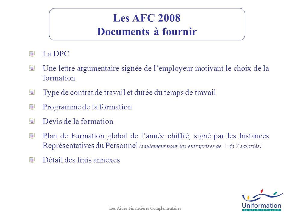 Les AFC 2008 Documents à fournir
