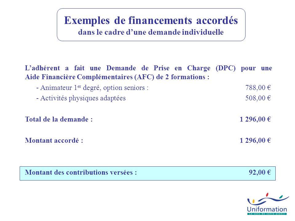 Exemples de financements accordés dans le cadre d'une demande individuelle