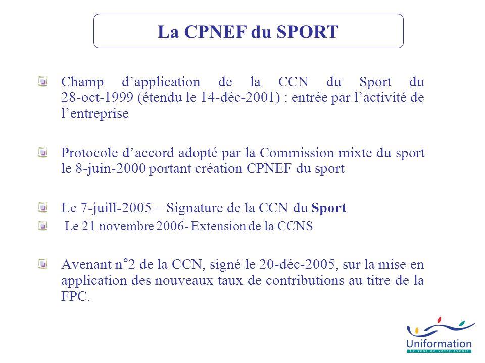La CPNEF du SPORT Champ d'application de la CCN du Sport du 28-oct-1999 (étendu le 14-déc-2001) : entrée par l'activité de l'entreprise.