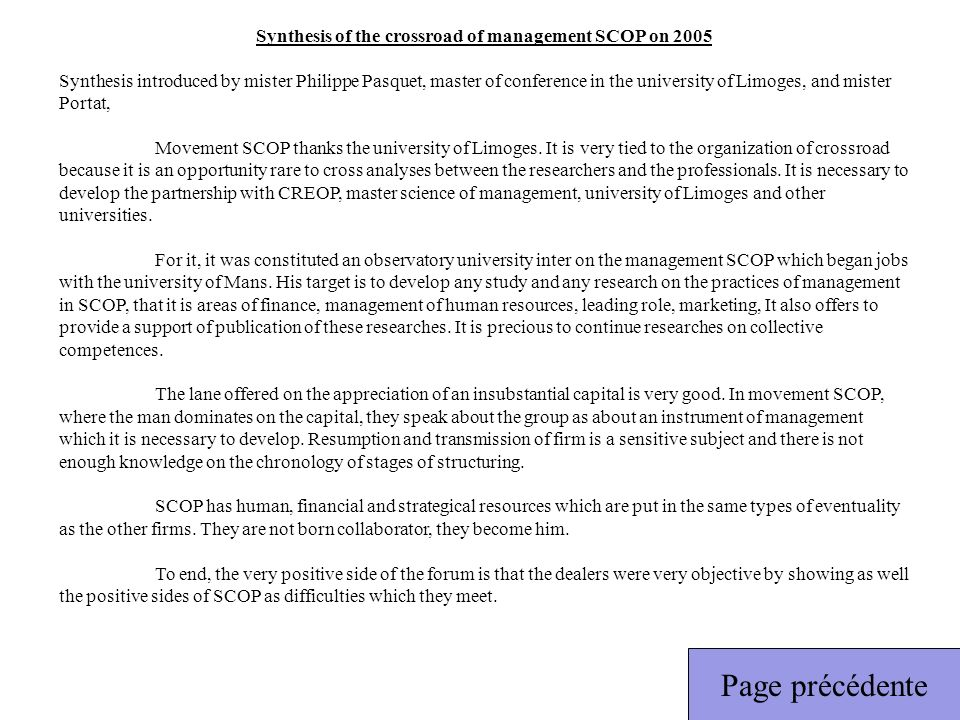 Synthesis of the crossroad of management SCOP on 2005