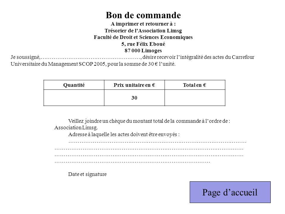 Bon de commande Page d'accueil A imprimer et retourner à :
