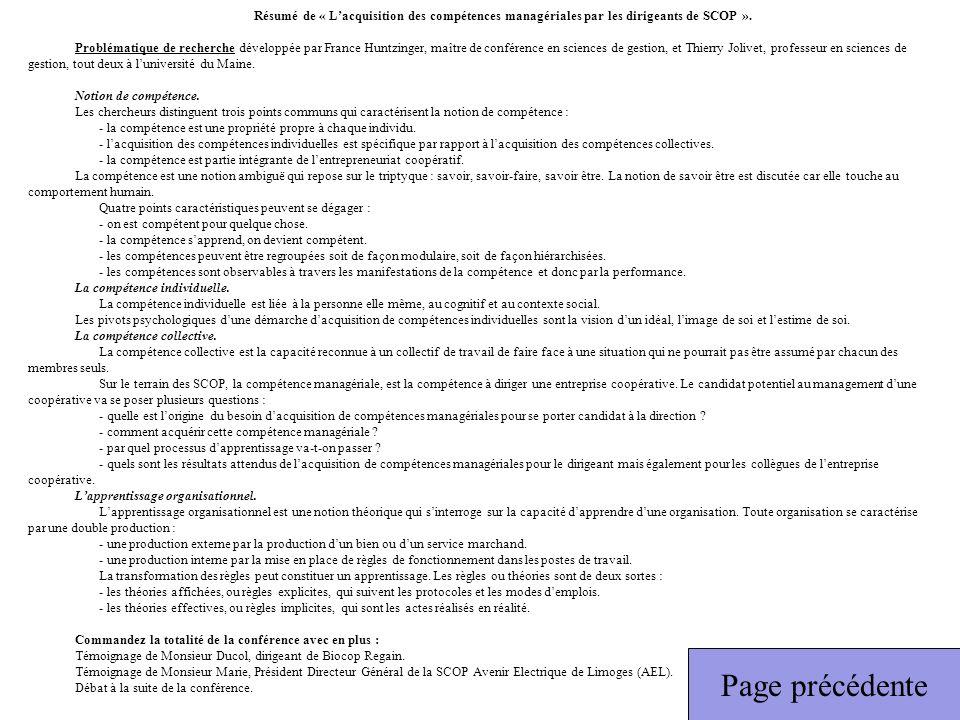 Résumé de « L'acquisition des compétences managériales par les dirigeants de SCOP ».