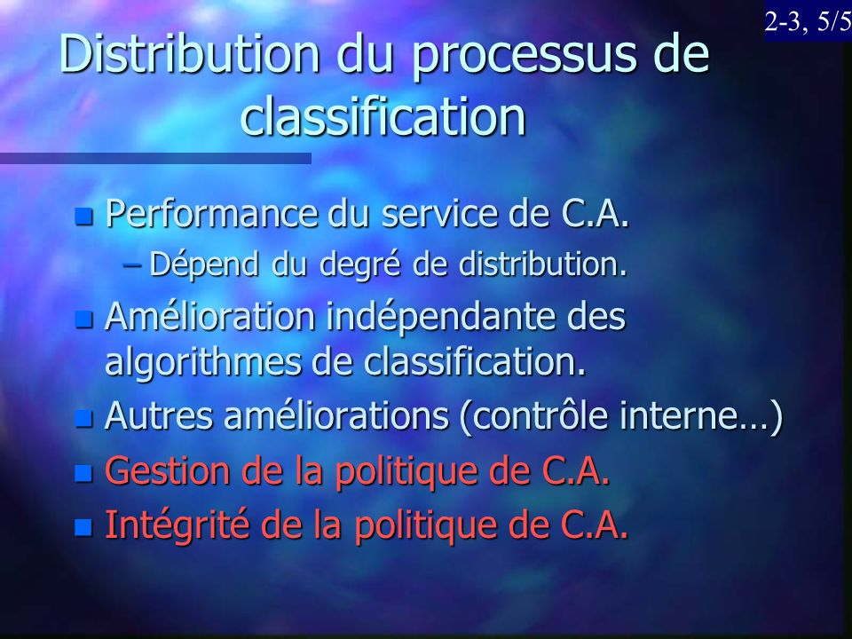 Distribution du processus de classification