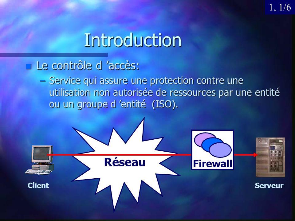 Introduction Le contrôle d 'accès: Réseau 1, 1/6