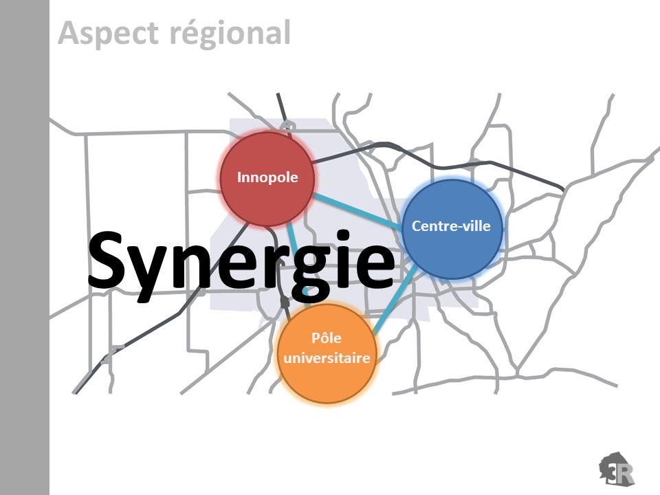 Aspect régional Innopole Centre-ville Synergie Pôle universitaire