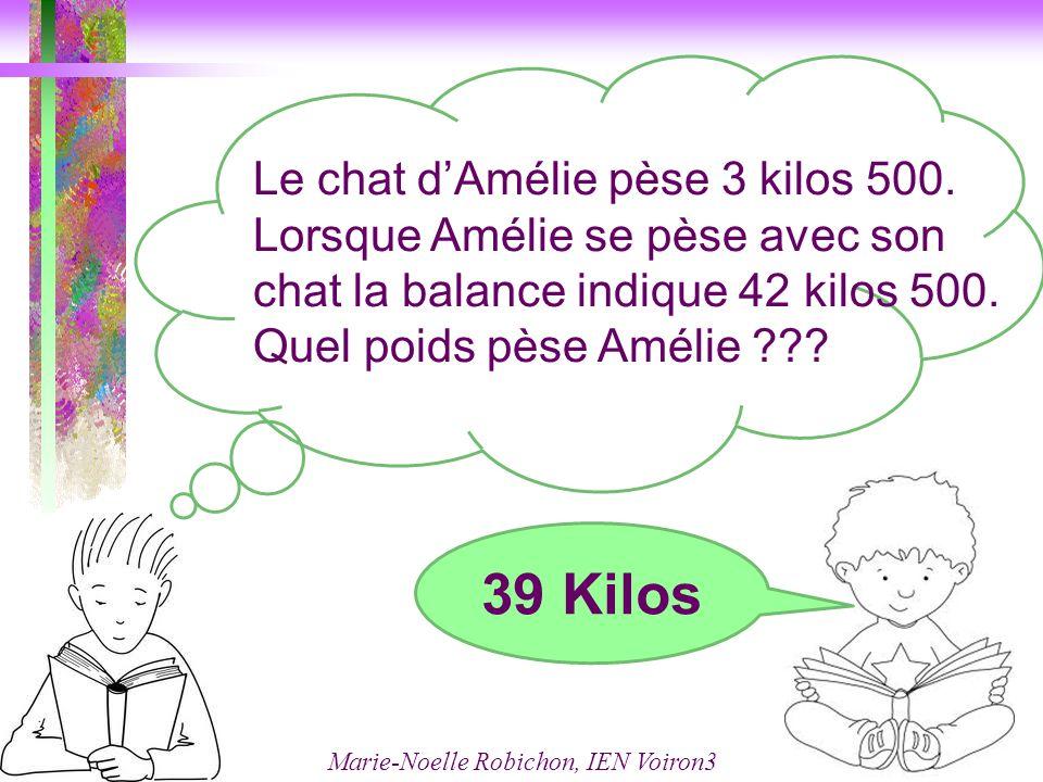 Le chat d'Amélie pèse 3 kilos 500.