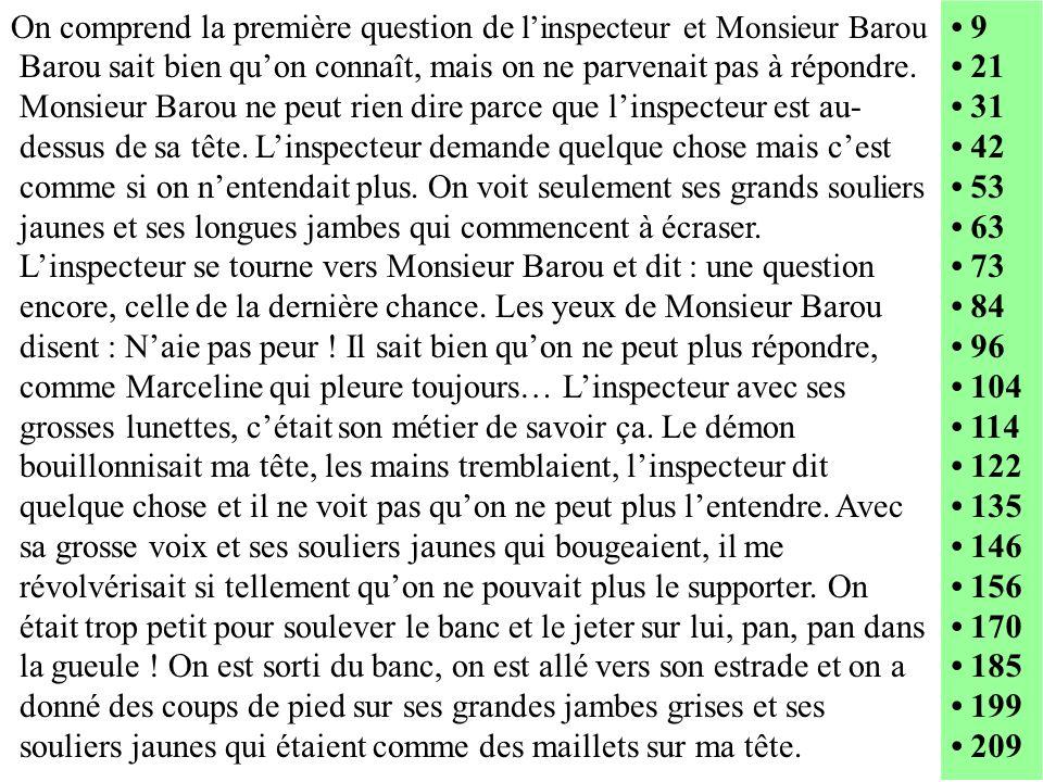 On comprend la première question de l'inspecteur et Monsieur Barou