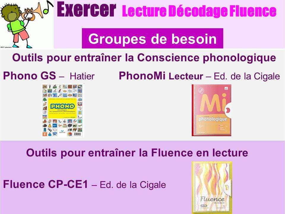 Groupes de besoin Exercer Lecture Décodage Fluence