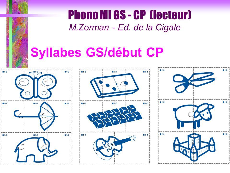 Syllabes GS/début CP Phono MI GS - CP (lecteur)