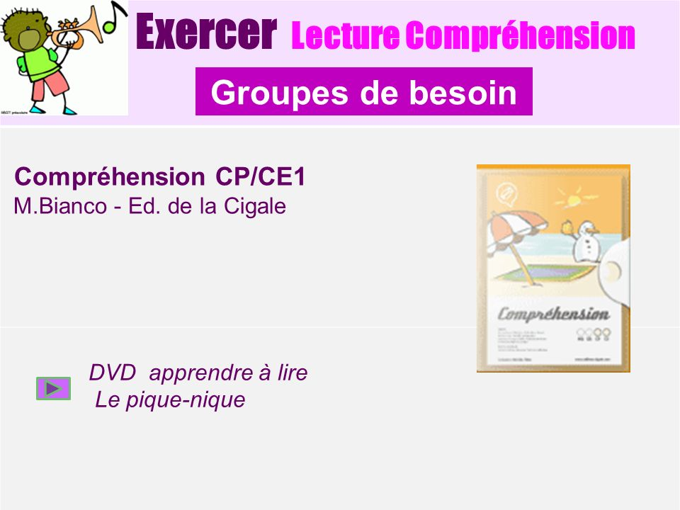 Groupes de besoin Exercer Lecture Compréhension Compréhension CP/CE1