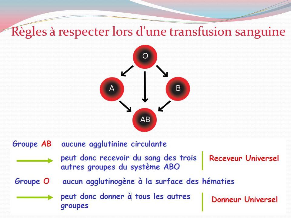 Règles à respecter lors d'une transfusion sanguine