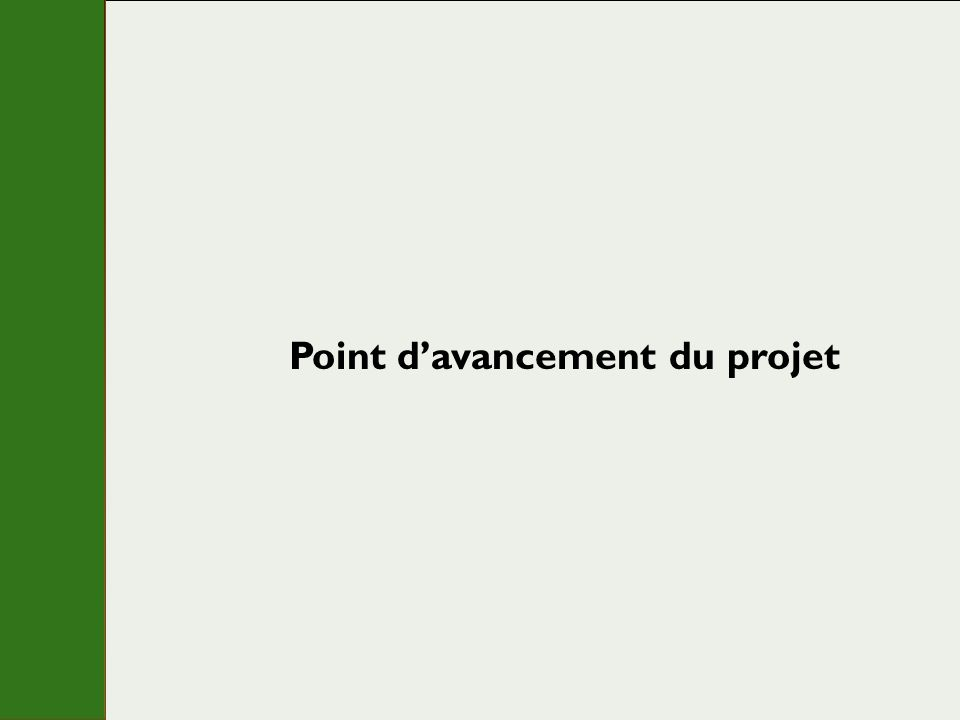 Point d'avancement du projet