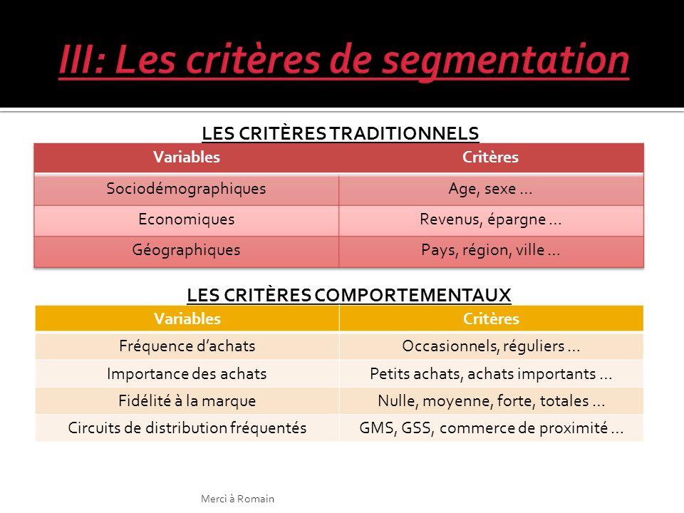 III: Les critères de segmentation