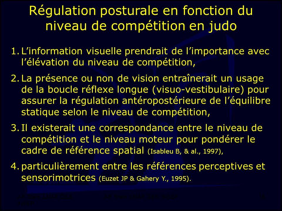 Régulation posturale en fonction du niveau de compétition en judo
